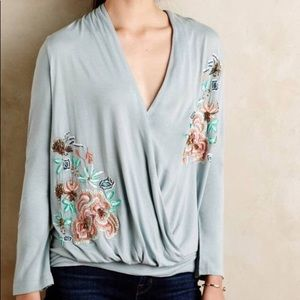 Anthropologie Long sleeve Surplice embroidery top
